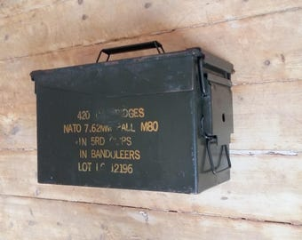 vintage military box ammo box metal container industrial design ammunition army box original authetic collection US ammo can box