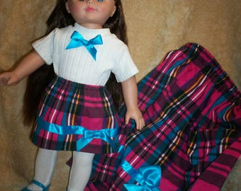 18 inch doll skirt and top, Like american Girl, Size 7 girls skirt