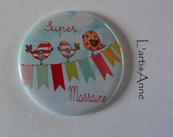 Magnet magnet Super godmother gift godmother birds.