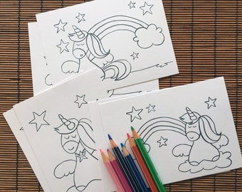 Kit cards unicorns and 6 colored pencils