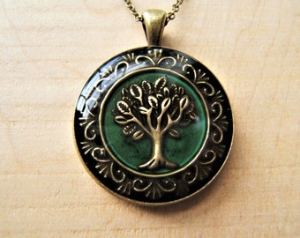 Tree of life necklace. Green pendant. Pagan, Wicca jewellery. Handmade.