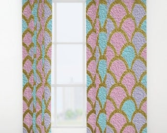 Mermaid Scales Window Curtains Pastel