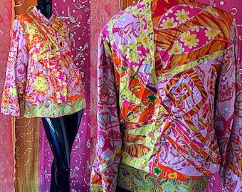 Sandy Starkman Jacket India Psychedelic Jacket Indian Block Print Embroidered Jacket