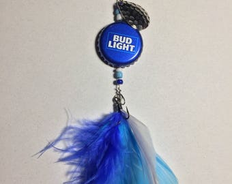 Bottle Cap Fishing Lure - Bud Light Birthday Gift for Men or Women and for decoration Key Chain Rear View Mirror ornament awesome new item