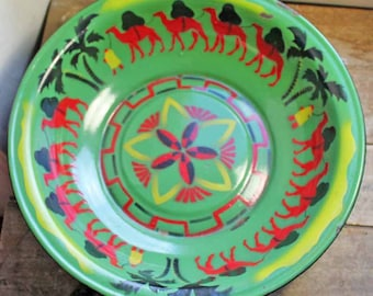 Large French Enamelware Basin motif of camels. Rare Large Vintage French Enamel bowl 'Morocco style' around 1950's