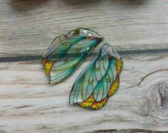 Vitrail Bee wings. Artbeads. Handmade fantasy beads. Insect wings. Entomologist. Resin