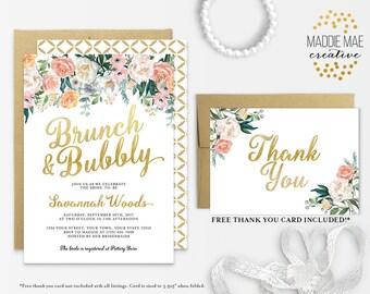 Brunch and Bubbly Bridal Shower Invitation / Bridal Brunch, Elegant Bridal Shower, Gold, Bridal Luncheon, Wedding Shower, Floral, Printable