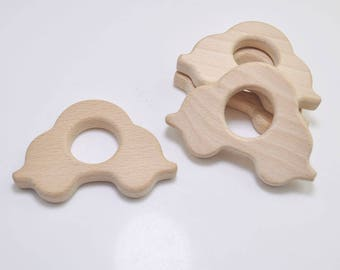 5pcs Natural Wood Teether,Car Pendant,High-Quality Untreated Wood Teething Toy/Pendant. DIY Supplies for Safe Teething Necklace.