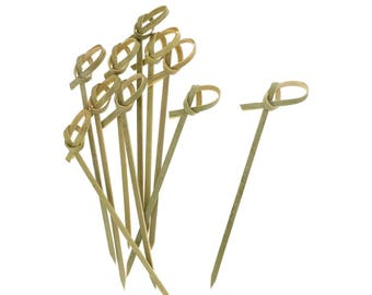 50 Ct 5 Inch Bamboo Knot Party Picks - Food Garnish - Fruit Picks - Finger Sandwich Picks - Mini Skewers