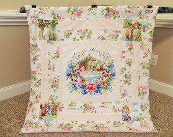 """Alice in Wonderland Blanket, Alice in Wonderland Quilt, Baby cotton quilt, baby playmat, Alice in wonderland nursery, Forty Ravens, 40""""x40"""""""