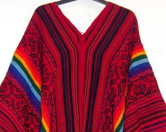 60's  vintage Rainbow Poncho  Boho Style
