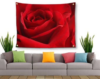 Rose Wall Decor-Rose Tapestry-Floral Wall Art-Fabric Wall Hanging-Flower Tapestry-Canvas Wall Hanging-Red Wall Hanging-Outdoor Tapestry