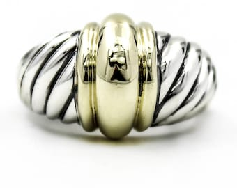 DAVID YURMAN Large Dome Ring in Sterling Silver and 14k Yellow Gold Size 6.5