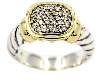 DAVID YURMAN Noblesse Ring with Pave Diamonds in Sterling Silver and 18k Gold