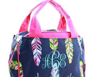 Monogrammed/Personalized Hot Pink Feather Lunch Tote/Bag, Kids Gift, Womens Gift