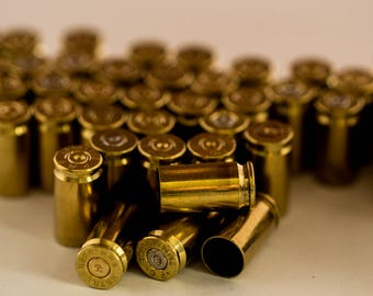 9mm Bullet Casings! Gold Tone, Polished, You Pick Quantity! Empty Spent Ammo Cartridge Shells