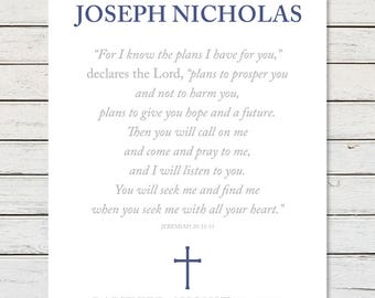BAPTISM PRINTABLE, Personalized Baptism Gift, Baptism Gift, Baptism Scripture, Jeremiah 29:11, For I Know The Plans I Have For You
