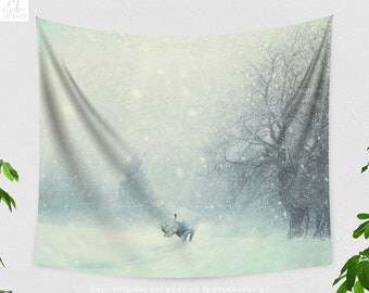 Different dont mean weak | Wall tapestry | Tapestry | Animal Tapestry | Surreal Tapestry | Wall Tapestries | Rhino | Winter | Wall Hanging