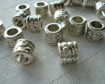 20 Big Hole Antique Silver Column Spacers. 8.5x7mm. Lovely Ornate Motiff. Large 5mm Hole.  Limited Quantity!  ~USPS Ship Rates /Oregon