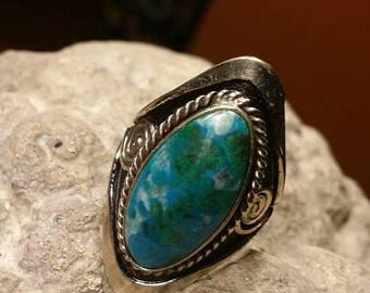 Holiday SALE 85 % OFF Turquoise Adjustable  Ring Gemstone. 925 Sterling  Silver   Tribal Ethnic