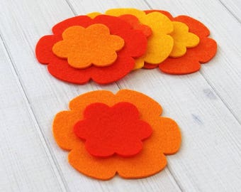 Felt Flowers, 16 pieces - Flower Layers - Die Cut Felt Shapes - Felt Applique - Your Choice of Colors