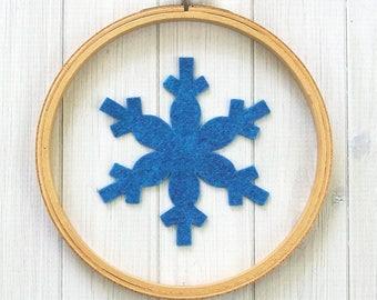 Large Felt Snowflakes, Winter Crafts, Hoop Art, Die Cut Felt Shapes, Wool Blend Felt, Snowflake 4