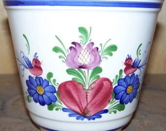 """4"""" Flower Pot Handpainted Ceramic in old world style made in Austria"""