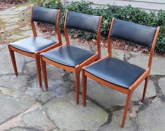 Mid Century Modern Danish Teak Chairs set of 3