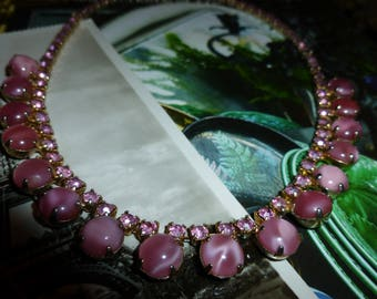 Pretty Pink Moonstone And Rhinestone Choker / Necklace 1950's-1960's