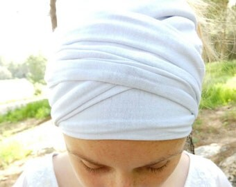 Double sided Jersey Head Scarf,Workout Accessories,Yoga Headband,Bohemian Hair Accessories,white yoga headwrap,yoga gift idea