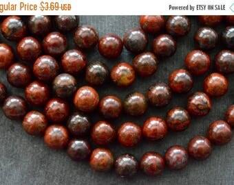 SUPER SALE 8mm Red Brecciated Jasper Stone Beads Gemstone Beads Round Red Stone Beads (10) Natural Jasper Beads