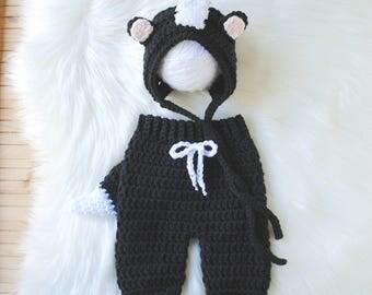 Baby Skunk Costume, Newborn Halloween Costume, Newborn Costume, Baby Costume, Halloween Costume, Skunk Hat, Baby Skunk Outfit, Skunk Outfit