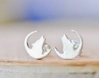 Wolf Stud Earrings in Sterling Silver, Howling Wolf Earrings, Wolf and Moon Earrings, Wolf Gifts, Jamber Jewels