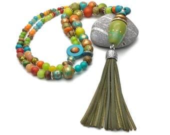 Long boho multicolor beaded tassel necklace, long pendant tassel necklace, boho long pendant necklace, extra long necklace, layering necklac