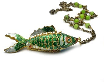 fish necklace, large green articulated koi fish pendant, cloisonne fish pendant necklace, good fortune jewelry, fish jewelry,