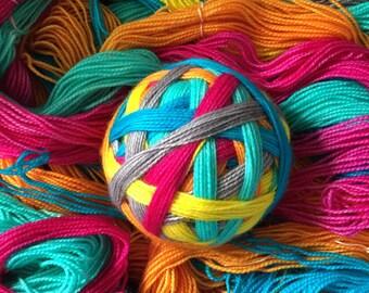 "Ready to Ship: June Charity Listing - ""Shark + Awe"" - Shark Week - Hand Dyed Self-Striping Sock Yarn"