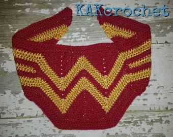 Toddler Wonder Woman Scarf/Girl power Shawl/Superhero Scarf/Cosplay Red & Gold Shawl/Chevron wrap//Wonder Woman/fangirl mom and me/kids wrap