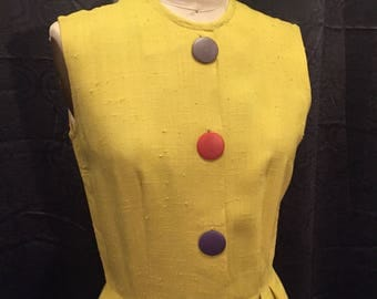 Vintage 1950s raw silk wiggle dress, pockets!