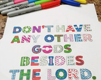 Ten Commandments Coloring Pages Printable Pack