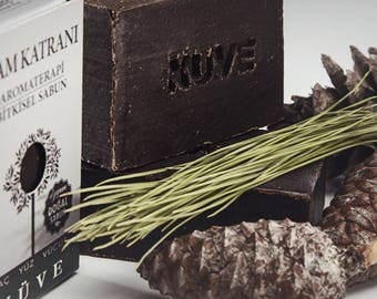 Nuve Pine Tar Soap - Handmade Aromatherapy Herbal Collection - All Natural With Olive Oil (110 gr. / 4 oz.)