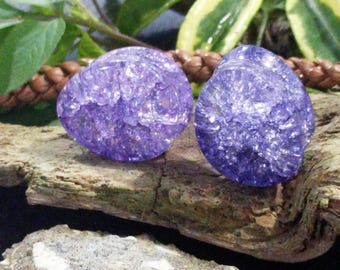 """Pair Shattered Purple Clear Glass Teardrop Double Flared Saddle Plugs 16mm (5/8"""") 22.5mm (7/8"""") 26mm 1"""" 28mm 1 1/8"""" 32mm 1 1/4"""" 35mm 1 3/8"""""""