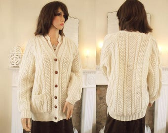 Hand knitted aran cardigan Traditional cream aran jacket Hand knitted soft yarn cardigan Cream  handknit sweater Large cream cardigan A1313