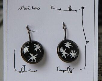 Hand painted * original illustration hand painted earrings * lever Earrings * white stars