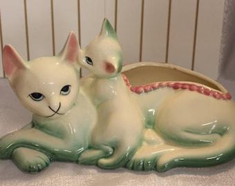Hull Cat Planter Mid Century Cat Planter Ceramic Cat Planter Mint Green Pink Cat Planter Retro Cat Planter 1963