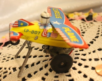 Vintage Tin Wind up Toy Airplane!  Circus Plane CP-007 Works, Made in Japan