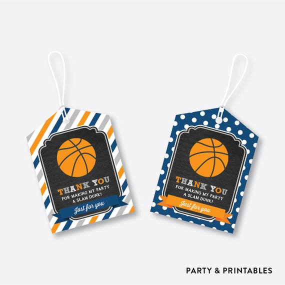 Instant Download, Basketball Favor Tags, Basketball Thank