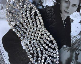 Art Deco Dress Trim. Huge Rhinestone Buckle. 1930s Sparkly Crystal Belt Clasp. Vintage Dress Embellishment. Wedding Accessory.