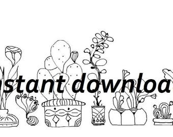 Plants Line Drawing Set - Succulents / Digital Image -  only JPG