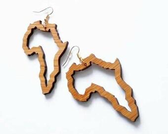 AFRIQUE | Africa Earrings, African Jewelry, Wood Earrings, Laser cut jewelry