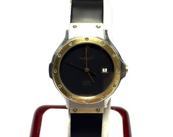 HUBLOT 18K Yellow Gold and Stainless Steel Luxury Ladies Watch with Diamonds